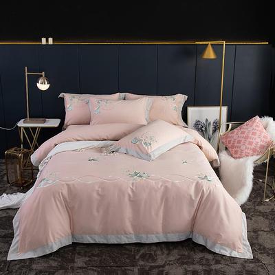 2020新款60支长绒棉磨毛绣花款四件套 1.8m床单款四件套 漫舞风姿白桃粉