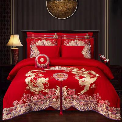 2020新款100支长绒棉婚庆刺绣工艺款多件套—龙腾凤翔 1.5m(5英尺)床 床单款四件套