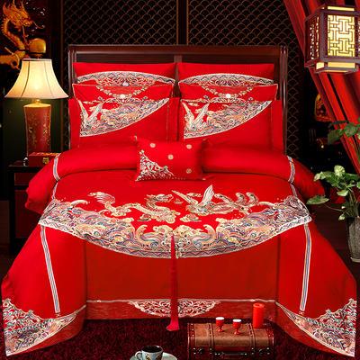 2020新款100支长绒棉婚庆刺绣工艺款多件套—龙跃凤鸣 1.5m(5英尺)床 床单款四件套