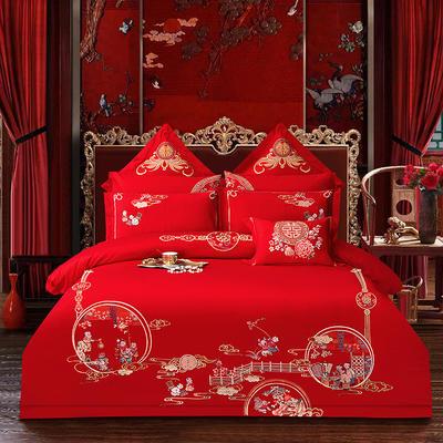 2020新款40重工被头绣花款婚庆多件套—百子多福 1.8m(6英尺)床 床单款四件套
