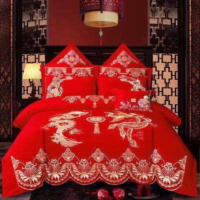 2020新款40重工被头绣花款婚庆多件套—龙凤嫁衣 1.8m(6英尺)床 床单款四件套