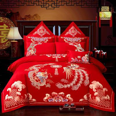 2020新款40重工被头绣花款婚庆多件套—尊龙贵凤 1.8m(6英尺)床 床单款四件套