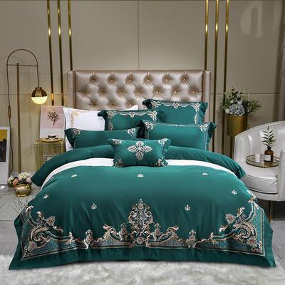 2居家-新款120支奢华贡缎长绒棉绣花居家系列四件套 1.8m床单款四件套 圣卡罗(墨绿)