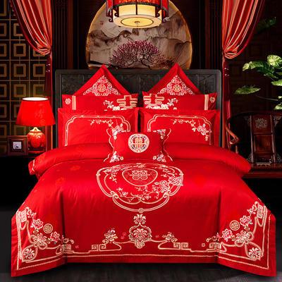 2020新款60支长绒棉传统重工绣花工艺婚庆多件套—花田喜事 1.8m(6英尺)床 床单款四件套