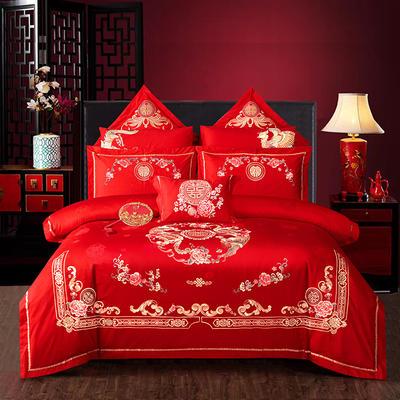 2020新款60支长绒棉传统重工绣花工艺婚庆多件套—鸾凤和鸣 1.8m(6英尺)床 床单款四件套