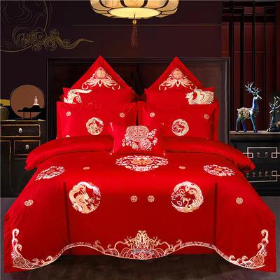 2020新款60支长绒棉传统重工绣花工艺婚庆多件套—五福龙凤 1.5m(5英尺)床 床单款四件套