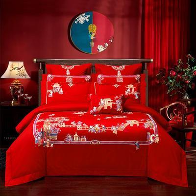 2020新款120支长绒棉高端婚庆工艺款多件套—百子迎喜 1.8m(6英尺)床 床单款四件套