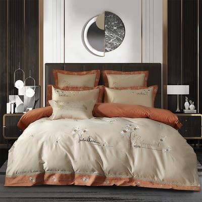3居家-新款100支长绒棉居家雅致生活小雏菊系列四件套 1.8m床单款四件套 橙