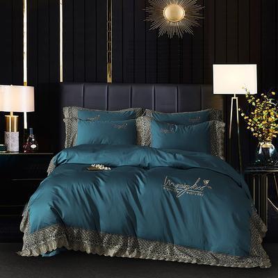 2020新款120支长绒棉玻尿酸蕾丝浪漫系列四件套 1.5m床单款四件套 宝蓝