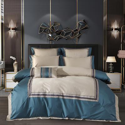 2020新款140支长绒棉绣花卡洛系列四件套 1.8m床单款四件套 宝石蓝