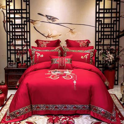 2020新款100支长绒棉高端蕾丝婚庆系列多件套—百年好合 1.5m(5英尺)床 床盖款十件套
