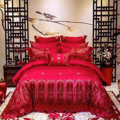 2020新款100支长绒棉高端蕾丝婚庆系列多件套—欧典爱情 1.5m(5英尺)床 床单款十件套