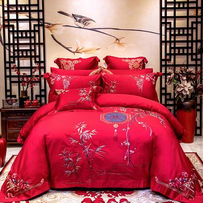 2020新款100支长绒棉高端蕾丝婚庆系列多件套—青梅竹马 1.8m(6英尺)床 床单款四件套