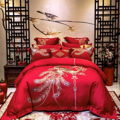 2020新款100支长绒棉高端蕾丝婚庆系列多件套—喜从天降 1.5m(5英尺)床 床盖款十件套