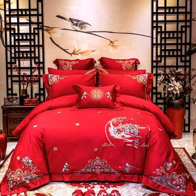 2020新款100支长绒棉高端蕾丝婚庆系列多件套—幸福一生 1.8m(6英尺)床 床单款四件套