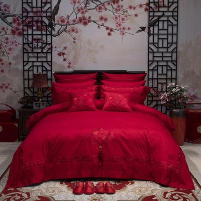 2021新款120支长绒棉全棉提花高端婚庆多件套—华丽红妆(红) 1.5m床单款四件套 床单款四件套