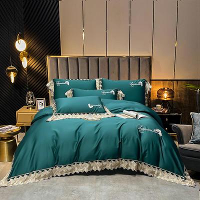 2021新款4居家-新款菲拉120支长绒棉蕾丝绣花系列四件套 1.8m床单款四件套 宝石绿