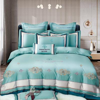 2021新款5居家-新款巴黎140支长绒棉全棉四件套 1.8m床单款四件套 薄荷绿