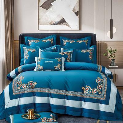 2021新款8居家-新款馨雅140支长绒棉全棉四件套 1.5m床单款四件套 宝石蓝