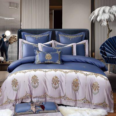 2021新款9居家-新款格姆140支长绒棉全棉四件套 1.8m床单款四件套 宾利蓝