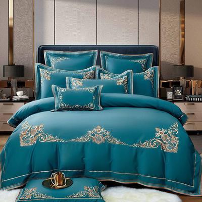 2021新款11居家-新款维多利亚140支长绒棉全棉四件套 1.8m床单款四件套 宝石蓝