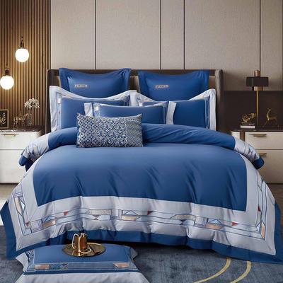 2021新款12居家-新款夏奈尔140支长绒棉全棉四件套 1.8m床单款四件套 宝石蓝