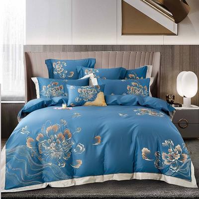 2021新款13居家-新款妍雅140支长绒棉全棉四件套 1.8m床单款四件套 宝石蓝
