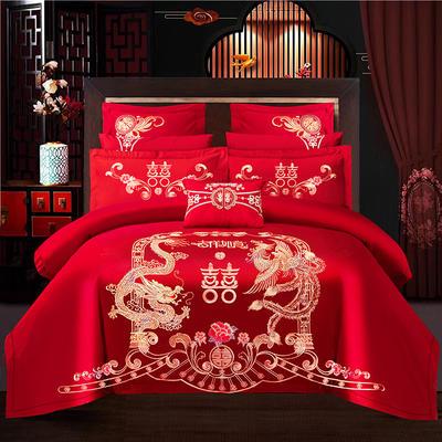 2021新款40支全棉13376跑量款婚庆多件套系列—吉祥如意 1.8m(6英尺)床 床单款四件套