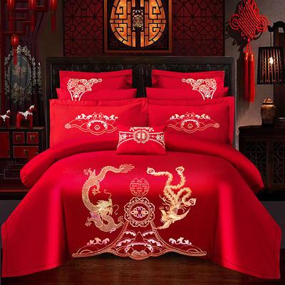 2021新款40支全棉13376跑量款婚庆多件套系列—龙凤婵娟 1.8m(6英尺)床 床单款四件套