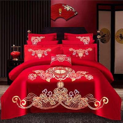 2021新款40支全棉13376跑量款婚庆多件套系列—世纪之恋 1.8m(6英尺)床 床单款四件套