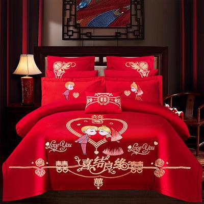 2021新款40支全棉13376跑量款婚庆多件套系列—喜结良缘 1.8m(6英尺)床 床单款四件套