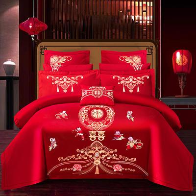 2021新款40支全棉13376跑量款婚庆多件套系列—幸福百子 1.8m(6英尺)床 床单款四件套