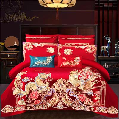 2021新款高端工艺款AB版120支长绒棉婚庆套件—皇家龙凤 1.8m(6英尺)床 床单款四件套
