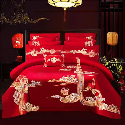 2021新款高端工艺款AB版120支长绒棉婚庆套件—天生一对 1.8m(6英尺)床 床单款四件套