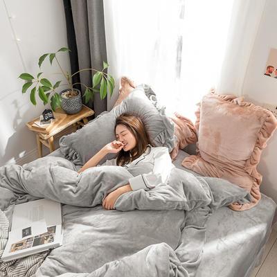 牛奶绒加厚保暖床裙四件套公主风荷叶边床裙式花边床上用品  四件套 1.8m床裙款四件套 灰色