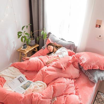 牛奶绒加厚保暖床裙四件套公主风荷叶边床裙式花边床上用品  四件套 1.8m床裙款四件套 桔色