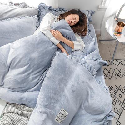 牛奶绒加厚保暖床裙四件套公主风荷叶边床裙式花边床上用品  四件套 1.8m床裙款四件套 蓝灰色