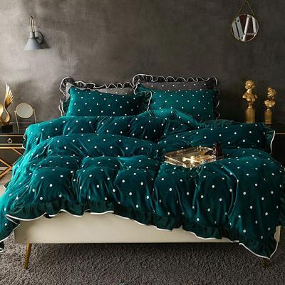 宝宝绒波点荷叶边床上用品四件套加厚保暖双面绒被套床群款法兰绒公主风 2.0m(6.6英尺)床 深绿