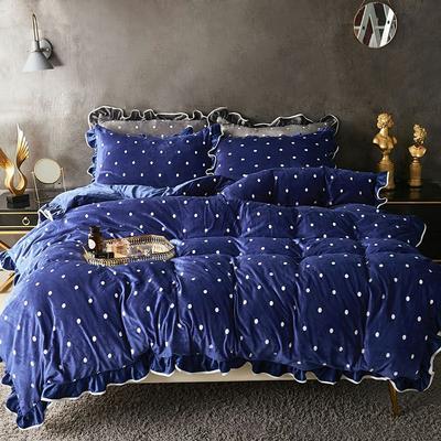 宝宝绒波点荷叶边床上用品四件套加厚保暖双面绒被套床群款法兰绒公主风 2.0m(6.6英尺)床 天蓝