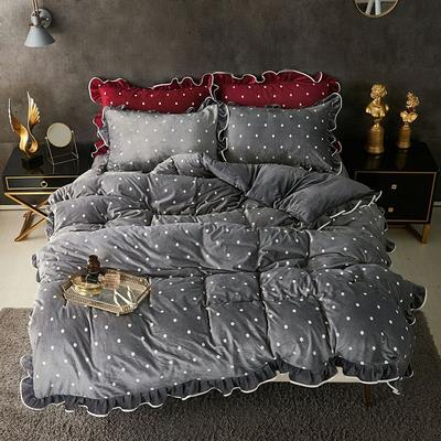 宝宝绒波点荷叶边床上用品四件套加厚保暖双面绒被套床群款法兰绒公主风 2.0m(6.6英尺)床 中灰