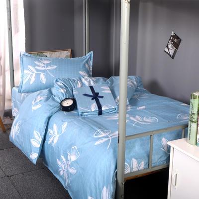2019新款ins小清新三件套学生三件套宿舍三件套单人床三件套 1.2m(4英尺)床 花开半夏-蓝