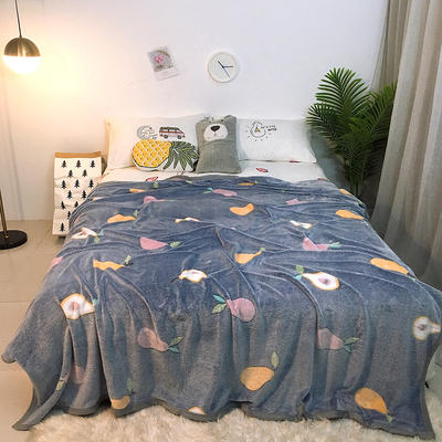 2019新款雪花绒毛毯小被子毛毯懒人毯午睡空调休闲床单盖毯夏季 200cmx230cm 水果交汇