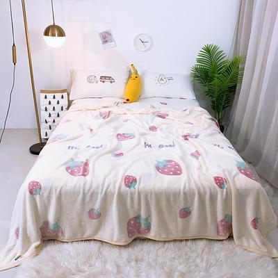 2019新款雪花绒毛毯小被子毛毯懒人毯午睡空调休闲床单盖毯夏季 200cmx230cm 小草莓
