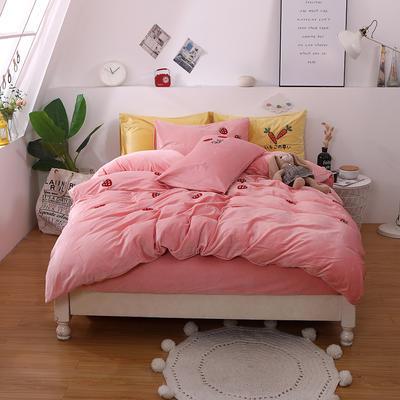 2019新款毛巾绣宝宝绒四件套双面绒冬季珊瑚绒被套床上用品加厚法兰绒床单 1.8m床单款 草莓