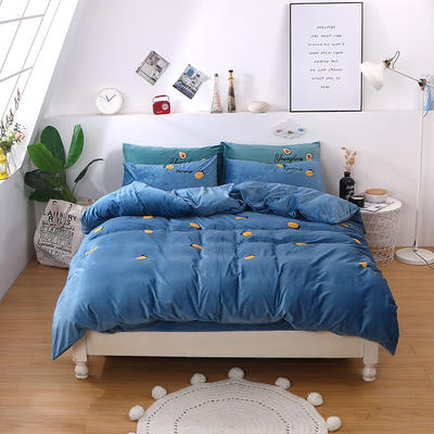 2019新款毛巾绣宝宝绒四件套双面绒冬季珊瑚绒被套床上用品加厚法兰绒床单 1.8m床单款 柠檬