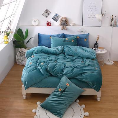 2019新款毛巾绣宝宝绒四件套双面绒冬季珊瑚绒被套床上用品加厚法兰绒床单 1.8m床单款 牛油果