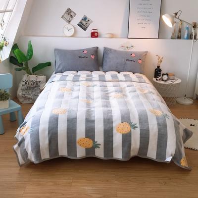2019新款-加厚雪花绒毛毯被子珊瑚绒午睡毯冬季法兰绒床单学生宿舍毯子床品 200cmx230cm 菠萝