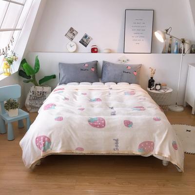 2019新款-加厚雪花绒毛毯被子珊瑚绒午睡毯冬季法兰绒床单学生宿舍毯子床品 200cmx230cm 小草莓