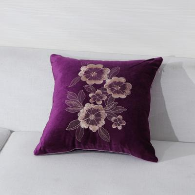 2019新款-精品韩国绒舒适抱枕(刺绣款1) 45*45含芯 金花-紫