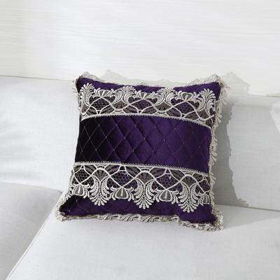 2019新款-精品韩国绒舒适抱枕(金线花边款) 45*45含芯 紫